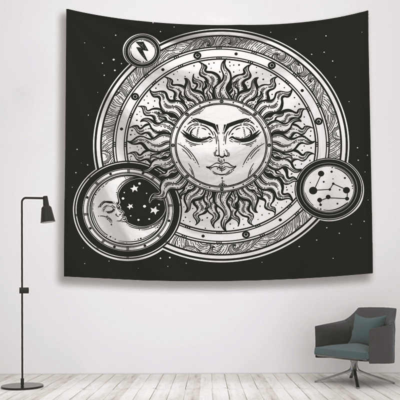 Sun Moon Black Tapestry Wall Hanging Old Hand Witchcraft Tapestries Hippie T2R5