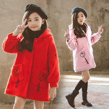 Girls Hooded Wool Coat with Tassel Pockets Kids Jacket for Childrens Baby Blends Overcoat Fall Winter Clothes 4 To 13