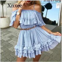 Детские синие шифоновые платья, женское Плиссированное летнее платье с оборками и открытыми плечами, элегантное праздничное свободное пля...
