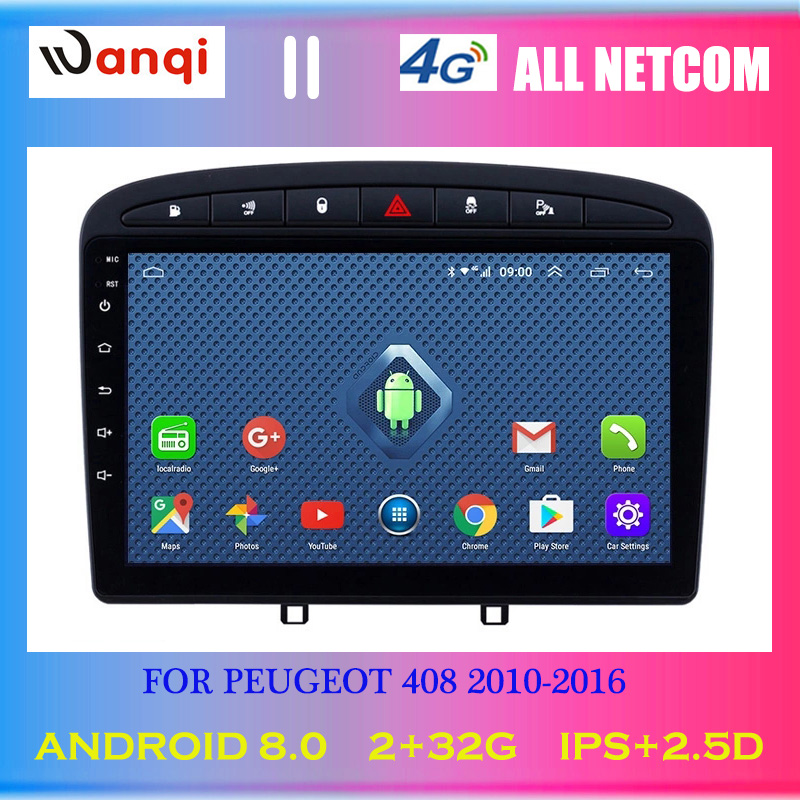 4G Lte All Netcom <font><b>Android</b></font> <font><b>8.0</b></font> 2.5D full touch Screen 9 inch Car GPS Navigation Multimedia for 2010-2016 <font><b>PEUGEOT</b></font> <font><b>308</b></font> 408 image