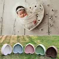 Newborn Photo Props 5 Colors Love Heart Bowl Baby Prop Chair Solid Wood Baby Posing Basket Studio Bebe Fotografia Accesorios Boy