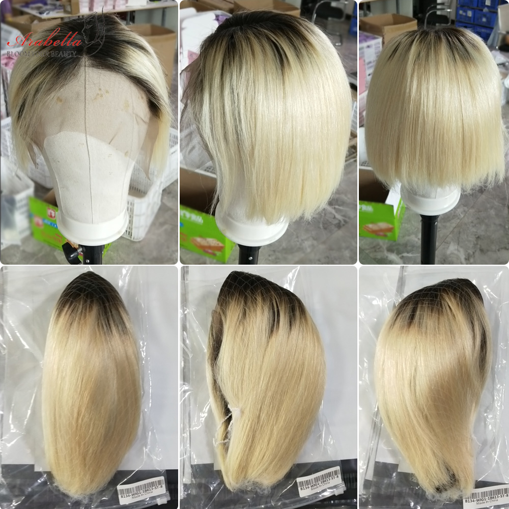 Blonde Straight Bob Wig Lace Front Wig 100%  Wigs 180% Density Arabella   Hair 613 Lace Front Wig Bob 5