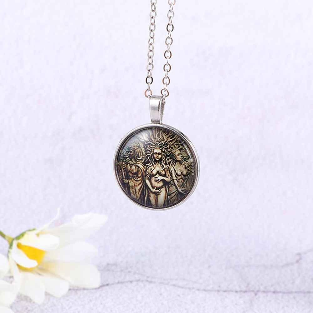 Tree of Life Moon สร้อยคอจี้เครื่องประดับวินเทจ Triple Moon เทพธิดา Wicca Pentagram Magic Amulet สร้อยคอผู้หญิงของขวัญ
