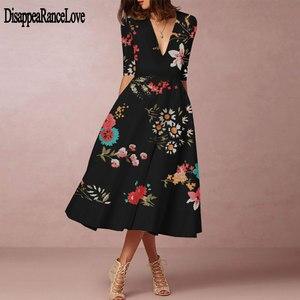 Женское платье с принтом, повседневное ТРАПЕЦИЕВИДНОЕ ПЛАТЬЕ С v-образным вырезом и рукавом три четверти в стиле бохо, лето 2020