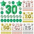 24 pçs/set Balão Número Foil Balões da Festa de Aniversário 18 20 25 30 40 50th adulto Decorações Da Festa de Aniversário Confete Estrela Balão