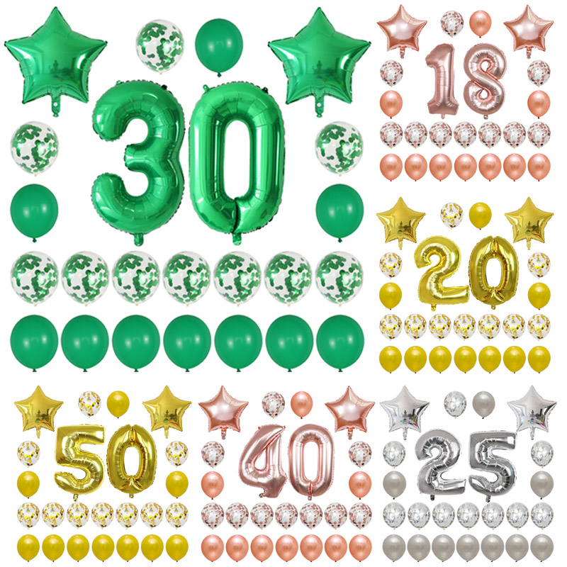 Papel globo 50 números plata globo globo número fiesta boda cumpleaños