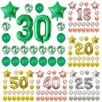 24pcs/set Birthday Party Balloon Foil Number Balloons 18 20 25 30 40 50th adult Birthday Party Decorations Star Confetti Balloon