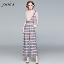 foreacha autumn and winter acrylic fibres suit fashion pink long-sleeved sweater and strap check trousers two-piece women