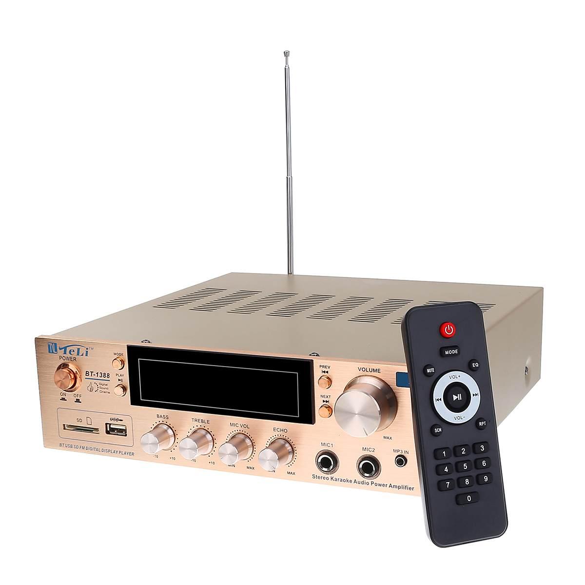 800W HIFI 2 Kanal Hause bluetooth Stereo Verstärker Karaoke FM Radio USB SD Power Heimkino Verstärker mit Fernbedienung controller