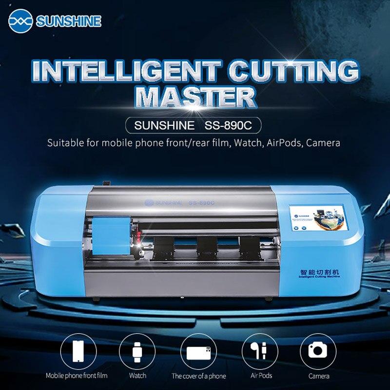Luz do sol SS-890C máquina de corte de filme automático tablet do telefone móvel frente vidro capa traseira proteger filme ferramenta corte fita protetora ferramenta