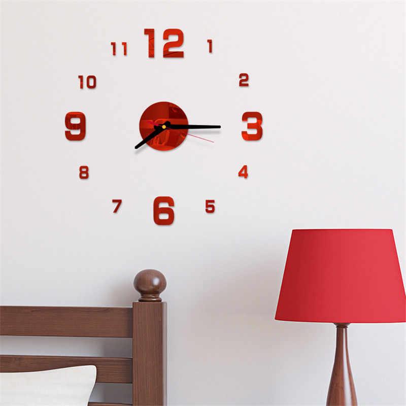 Moderne Große Wanduhr 3d Spiegel Aufkleber Einzigartige Große Anzahl Uhr Diy Decor Wanduhr Kunst Aufkleber Aufkleber Hause Moderne dekoration