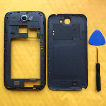 Original Phone Middle Frame + Housing Back Panel Cover Rear Battery Door For Samsung Galaxy Note 2 II N7100 N7105 I317 Case(China)