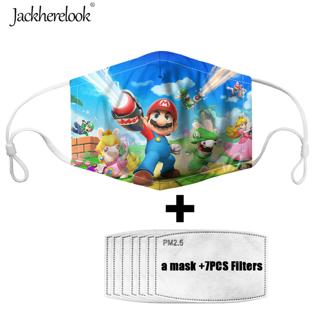 Jackherelook Super Mario Bros Anime Mask For Children's 7PCS Activated Carbon Filter Mouth PM2.5 Masks Cover Masque Mouth-muffle
