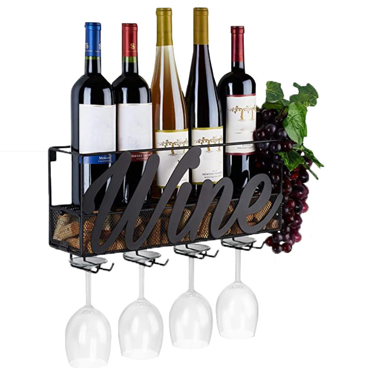 Champagne-Shelf Bottle Wine-Rack Wine-Glass-Holders Wall-Mounted Metal with Extra-Cork-Tray