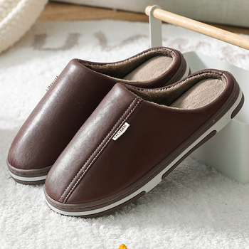Men's Slippers Waterproof Men Slippers Leather Velvet Short Plush Indoor Fur Slippers Large Size Couple Shoes for Home millffy wool slippers home package with comfortable men and women couple fur large size shoes mother pregnant women shoes