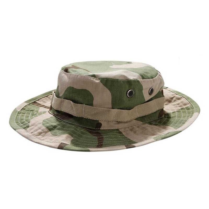 العسكرية الجيش التكتيكية بوني قبعة الصيد التمويه جولة الحواف في الهواء الطلق المشي لمسافات طويلة الصيد التخييم غطاء دلو