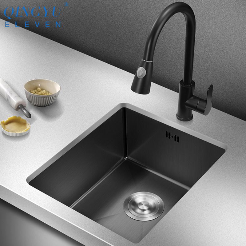 QINGYU ELEVEN Black Kitchen Sink Nanometer Antibacterial 304 Stainless Steel Manual Single Bar Counter Kitchen Sink