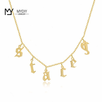 Single letter necklace old english font letters Name custom allergy free gothic necklaces etsy