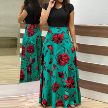 2019 Women Oversize Long Dress Patchwork Flower Printed Ladies Maxi Sleeve Autumn High Waist Vestido Boho Beach