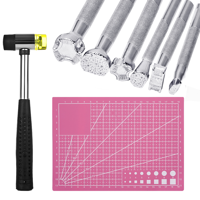 LMDZ 8 PCS Leather Stamper Set Hammer A5 Cutting Mat Leather Printed Punch for Leather Working DIY Printing Leather Craft Tool