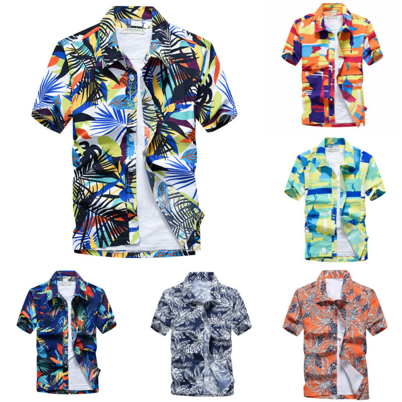 US New Hawaiian Shirt Mens Flower Beach Aloha Party Casual Holiday Short Sleeve