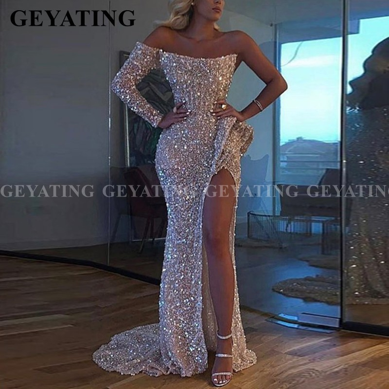 Sparkly Silver Sequin Mermaid Off The Shoulder Prom Dresses With Slit Long Sleeve Black Girl Graduation Dress Evening Party Gown