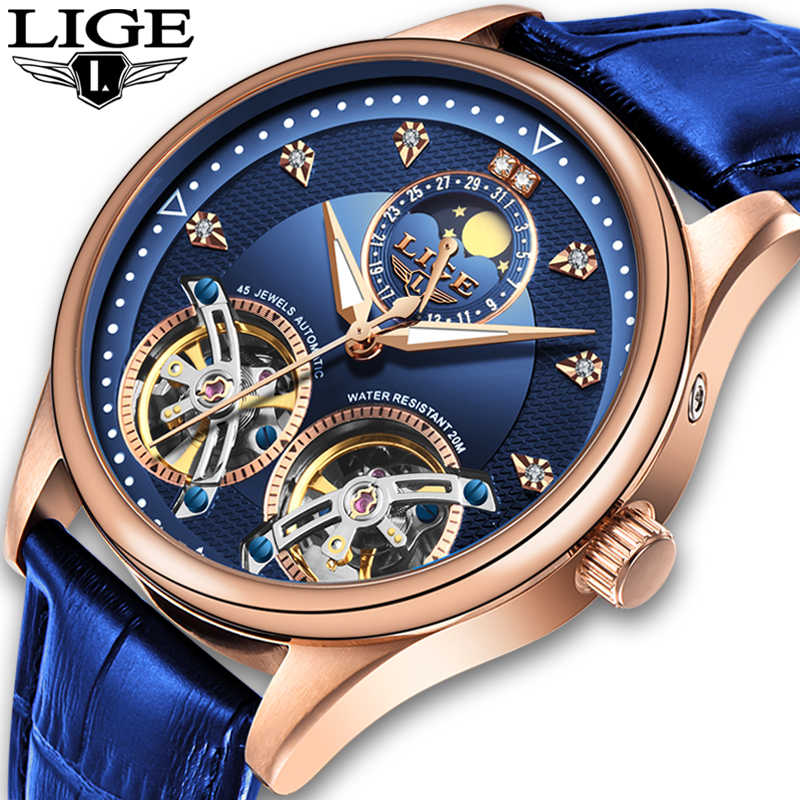 LIGE นาฬิกาผู้ชาย Mens นาฬิกาอัตโนมัติ Mechanical นาฬิกาผู้ชายนาฬิกา wirwanatch Tourbillon Reloj hombres 2019