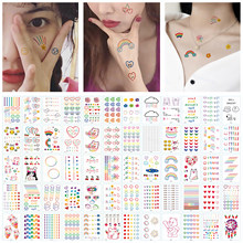 Waterproof Temporary Tattoo Sticker Rainbow Rose Facial Expression Cute Body Art Fake Tattoo Arm Tattoo Temporary Waterproof