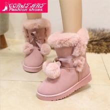 2019 Women Snow Boots Cute Bowtie Warm Fashion Snow Boots Women Winter Shoes But