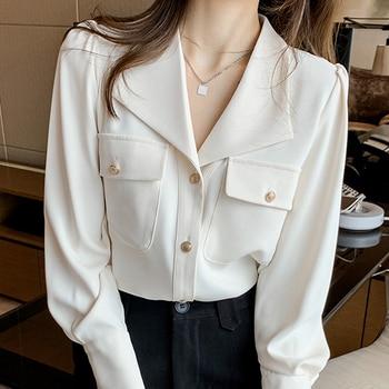 Long Sleeve Women Blouses Femme Blouse Women Blusas Mujer De Moda 2021 V-Neck Office Chiffon Blouse Shirt Tops Shirts Women E588 1