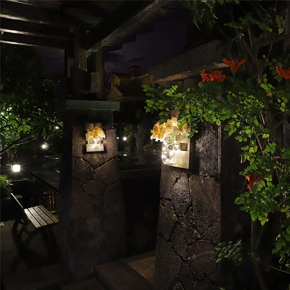 Leobtain Vaso Appliques Decorazione Della Casa Rustico Applique A Parete LED Fata Luci Verde Finta Pianta Decorazione Interni Caldo Tono