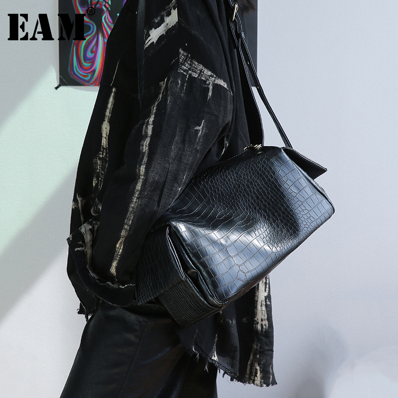 [EAM] Women New Black Pocket Split Joint Pu Leather Personality Accessories Fashion Tide All-match Spring Autumn 2020 1S512