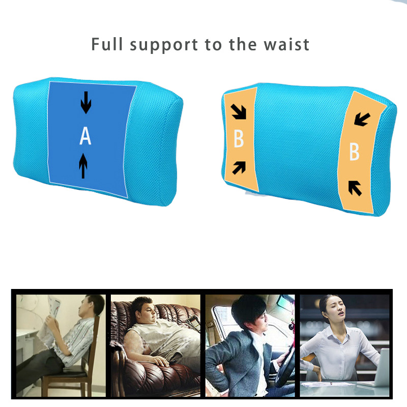 Купить с кэшбэком 1Pcs BYEPAIN Portable Inflatable Lumbar Support Cushion/ Massage Pillow for Travel Office Car Camping to Wais Back Pain Relief