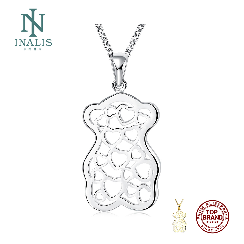 INALIS Classic White Art Hollow Heart To Heart Bear Shape Pendant Women's Men  Top Quality Silver Plated Necklaces Jewelry Gift