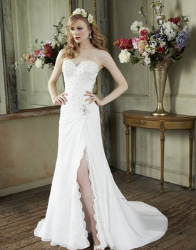 blondas Rich venise lace applique chiffon trumpet Scalloped romantic ethereal open leg sexy bridal gown Bespoke Wedding Dresses