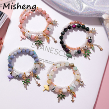Misheng 2019 New Summer Vacation Beach Womens Bracelet Natural Stone Crystal Coconut Tree Shell Umbrella Small Ornament Jewelry