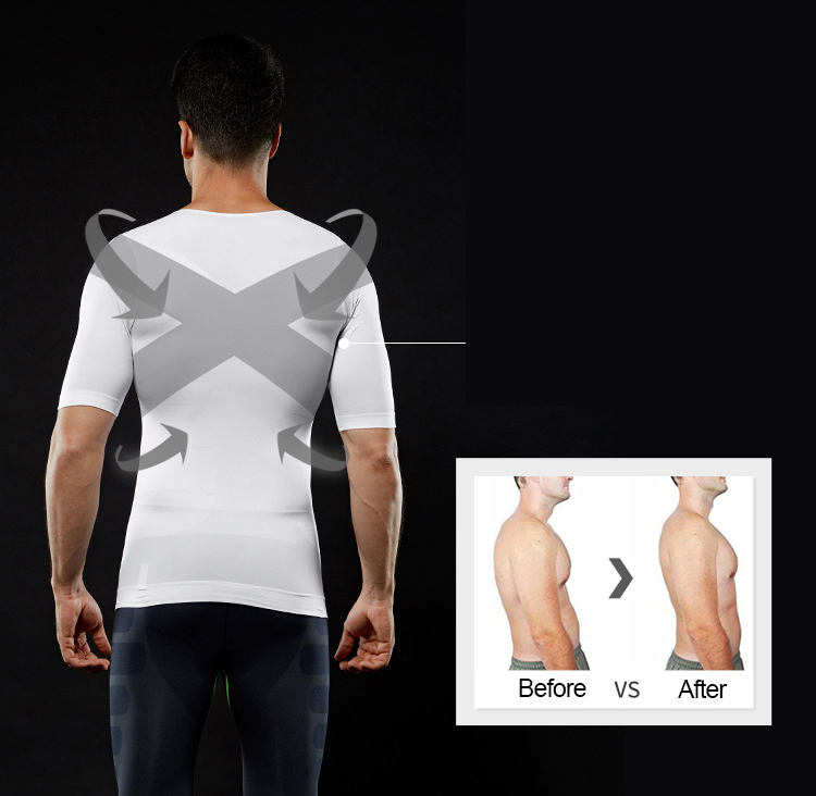 Men Slimming Body Shapewear Tight Corset Vest Shirt Compression Abdomen Tummy Belly Control Waist Cincher Underwear Black White