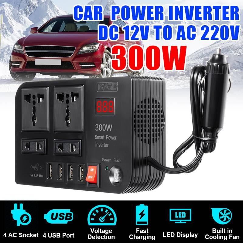 4 USB Inverter 300W DC12V To AC220V Voltage Transformer Modified Sine Wave Power Inverter DC12V To AC220V Converter LED Display