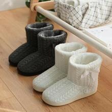 Зимние женские ботиночки; нескользящие хлопковые тапочки; сумка с ботинками; бархатные теплые домашние женские ботинки