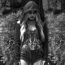Fitshinling Gothic Women Hoodies Sweatshirts Chain Harajuku Slim Black Hoody Autumn Winter Crop Hoodie Goth Dark Poleron Mujer