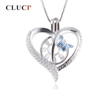 CLUCI Silver 925 Heart Butterfly Charm Pendant for Women Jewelry