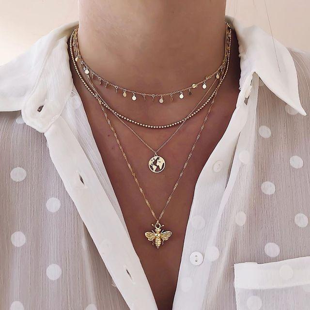 Gold color Choker Necklace for women Long moon Tassel Pendant Chain Necklaces & Pendants Laces velvet chokers Fashion Jewelry 2