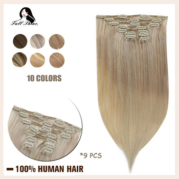 Full Shine Clip In Human Hair Extensions 9Pcs 120gram Balayage Color Ombre Machine Made Remy Human Hair Clip On Double Weft full shine balayage color 3 8 613 hair weft 100g hair weave sew in ribbon hair 100