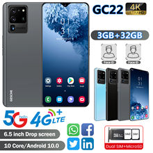 Gc22 câmera 3gb + 32gb do ai do smartphone telefones celulares 4g lte celular 6.5 inchface reconhecimento 4200mah telefone celular android 10