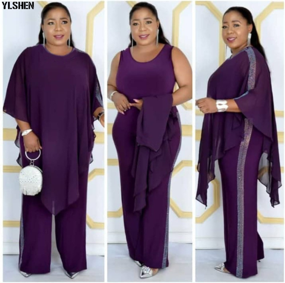 African Jumpsuit Set Dresses For Women Sequined African Clothes New Dashiki Elastic Bazin Baggy Pants Cloak Famous Suit For Lady 05