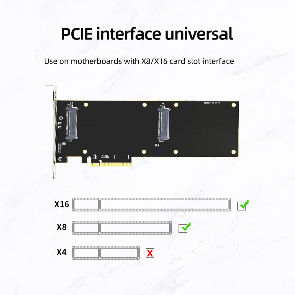 PCIE Riser Nvme 2.5 Ssd U.2 To PCI X8 X16 3.0 Adapter Card Interface SF-8639 32Gbps SATA-Express Double Hard Drive Server Card