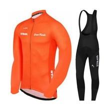 Strava Mens Cycling Jersey Long sleeve sets MTB Bike Clothing Maillot Ropa Ciclismo Hombre Bicycle Clothes 19D GEL bib pants nw