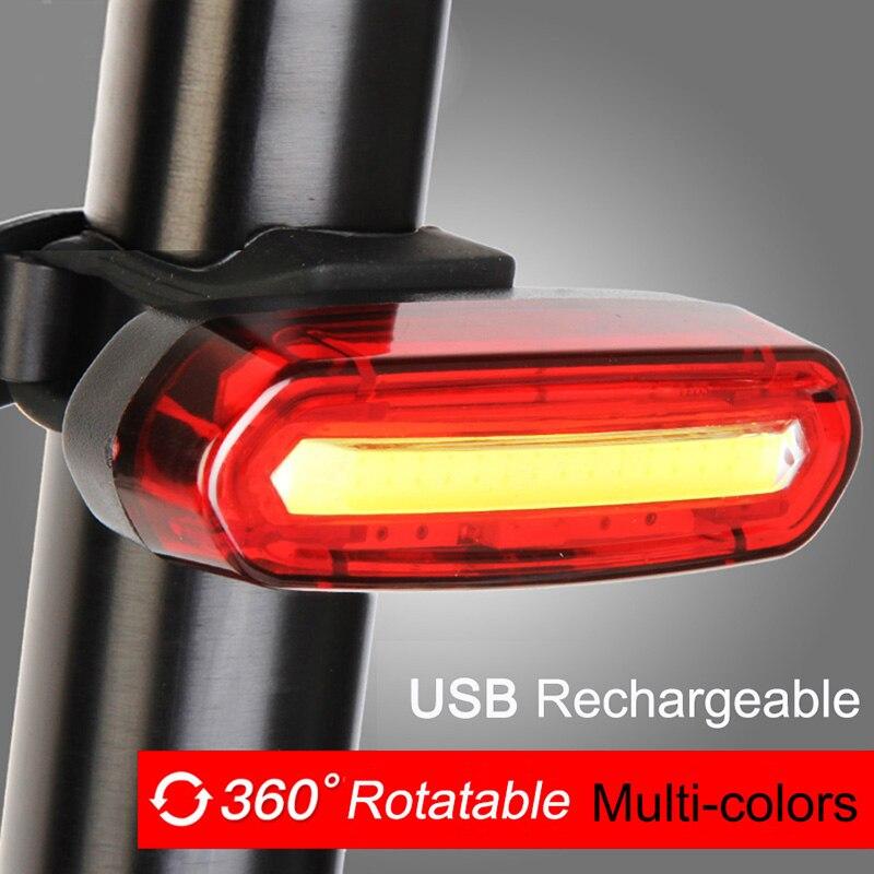 Bicicleta Lâmpada Recarregável USB LEVOU COB MTB Mountain Bike Luz Da Cauda do Farolim Traseiro luz de Aviso de Segurança Luz Traseira Da Bicicleta 2018