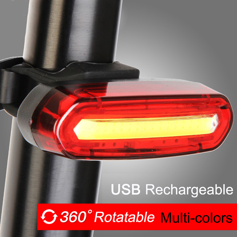 Bike Bicycle Lamp Rechargeable LED USB COB Mountain Bike Tail Light Taillight MTB Safety Warning Bicycle Rear Light 2018