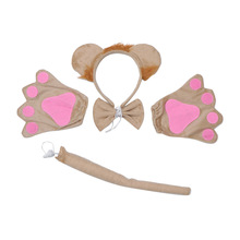 1 Set Funny Lion Headband Hairwear Tail Tie Performance Masquerade Party Supplies (1pc +Tail+Tie+1 Pair of Gloves)
